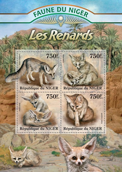 Foxes - Issue of Niger postage stamps