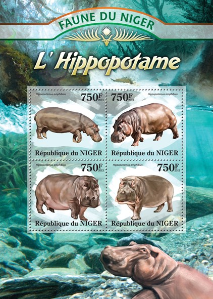 Hippopotamus - Issue of Niger postage stamps