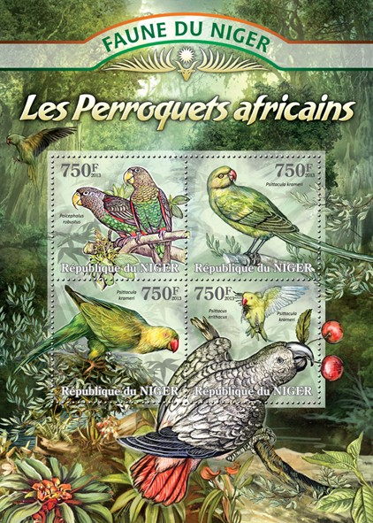 Parrots African - Issue of Niger postage stamps