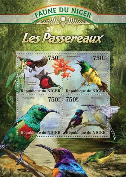 Passerine - Issue of Niger postage stamps