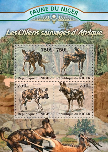 Wild Dogs - Issue of Niger postage stamps