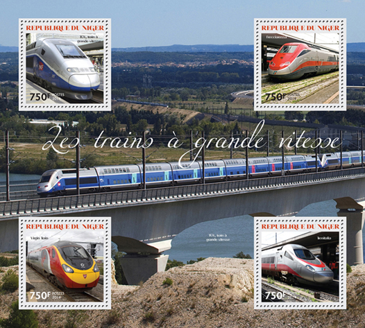 Speed trains  - Issue of Niger postage stamps