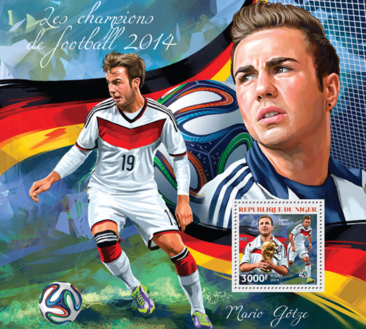 Football champions 2014 - Issue of Niger postage stamps