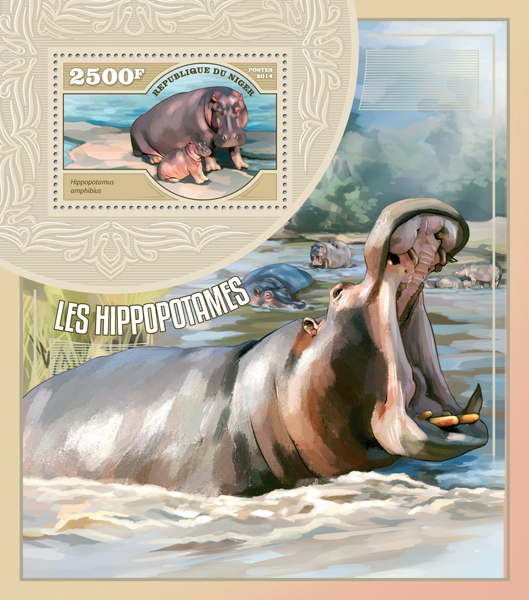 Hippopotamuses - Issue of Niger postage stamps