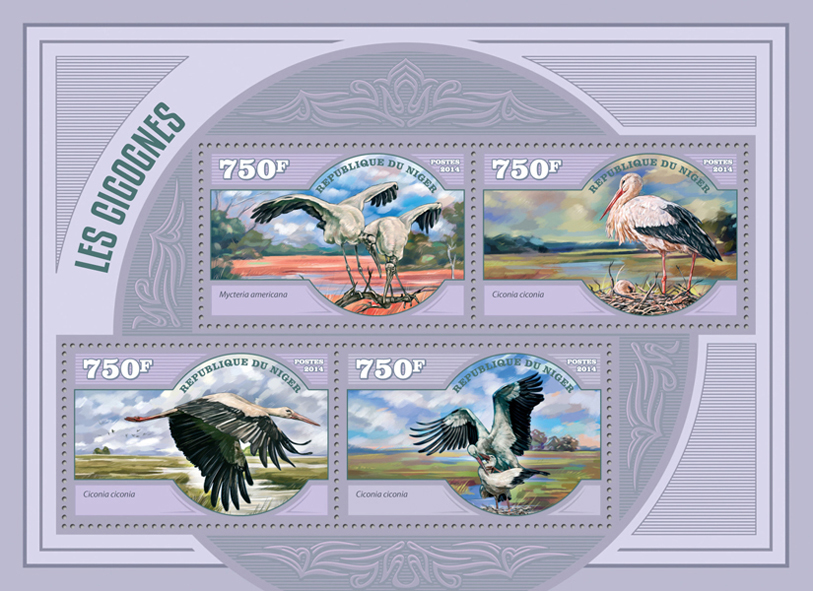 Storks - Issue of Niger postage stamps