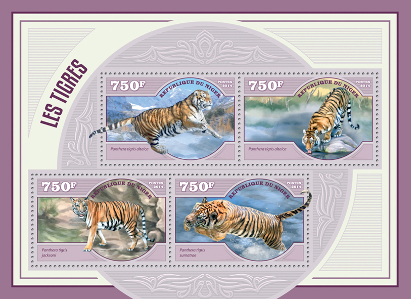 Tigers - Issue of Niger postage stamps
