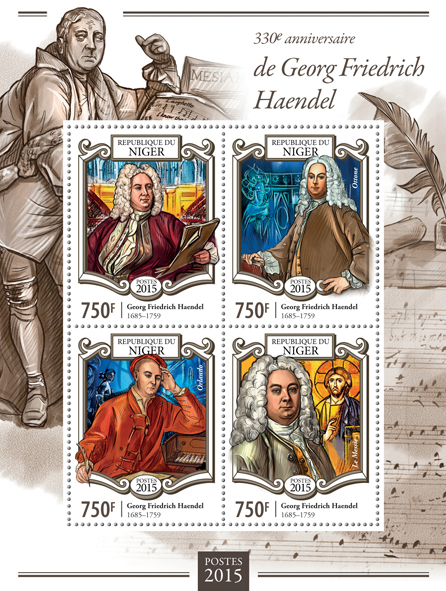 George Frideric Handel - Issue of Niger postage stamps