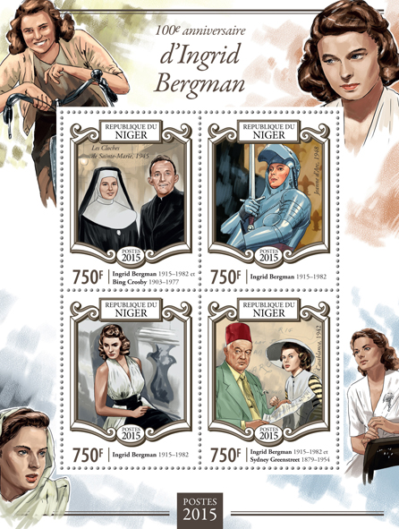 Ingrid Bergman - Issue of Niger postage stamps
