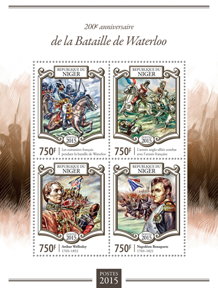 Battle of Waterloo - Issue of Niger postage stamps