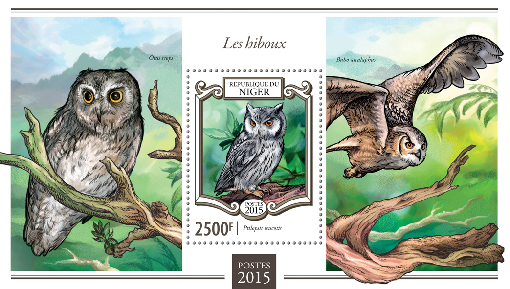 Owls - Issue of Niger postage stamps