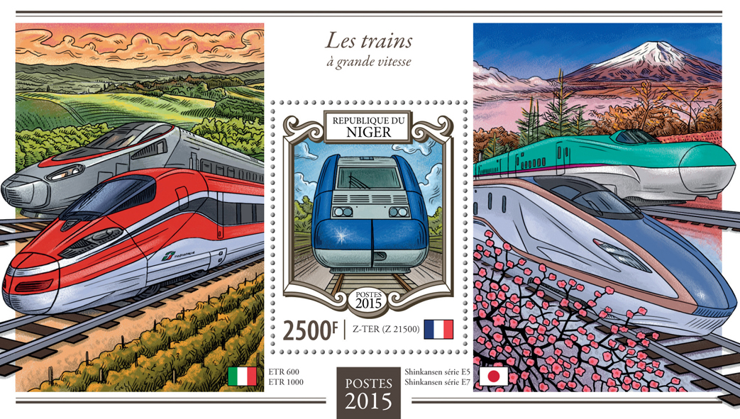 High-speed trains - Issue of Niger postage stamps