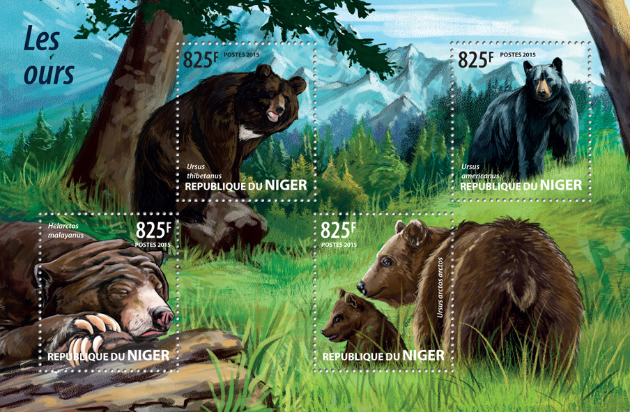Bears - Issue of Niger postage stamps