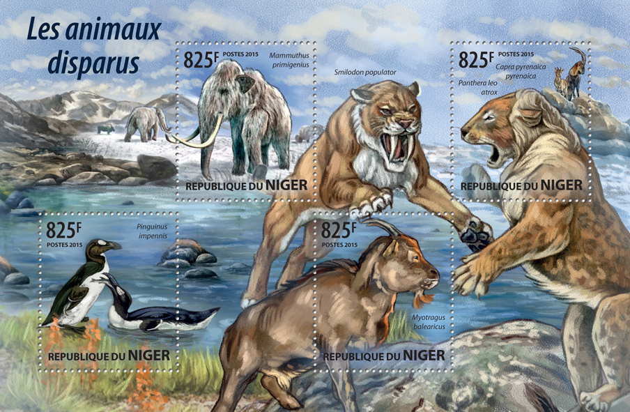 Extinct animals - Issue of Niger postage stamps