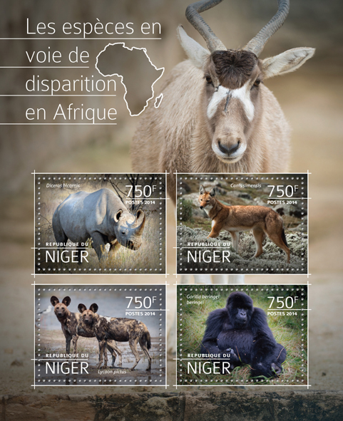 Engangered species in Africa - Issue of Niger postage stamps