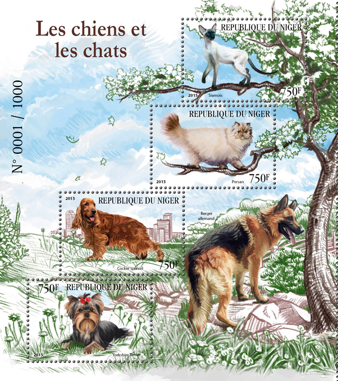 Dogs and cats - Issue of Niger postage stamps