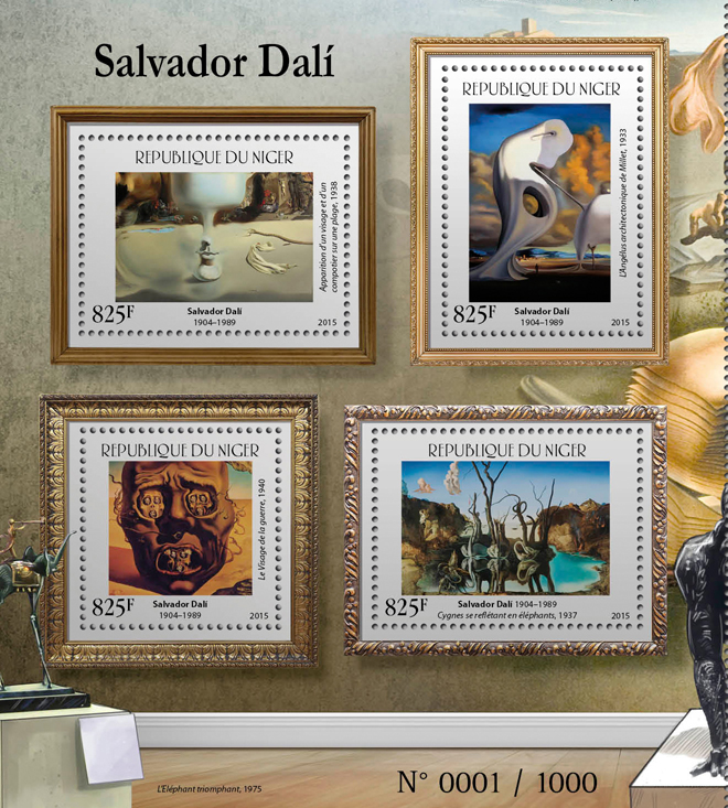 Salvador Dali - Issue of Niger postage stamps