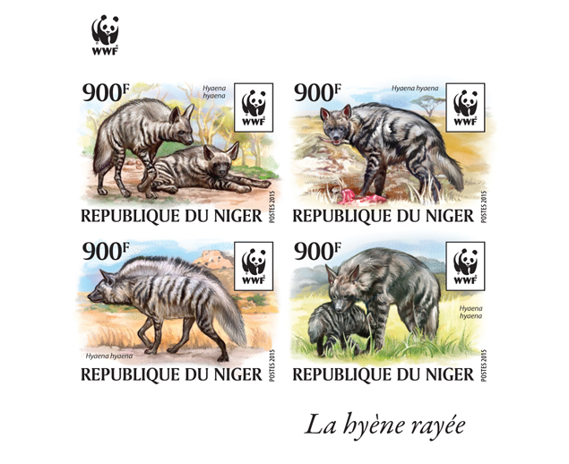 WWF – Hyena (imperf. Set) - Issue of Niger postage stamps