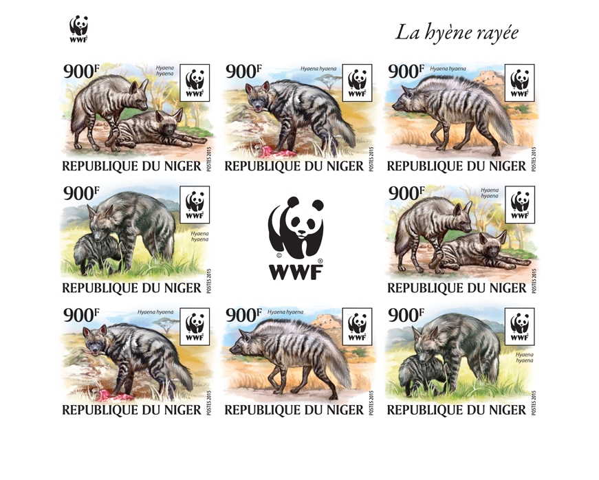WWF – Hyena (imperf. 2 sets) - Issue of Niger postage stamps