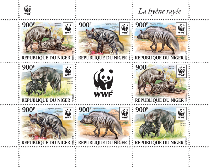 WWF – Hyena (2 sets) - Issue of Niger postage stamps