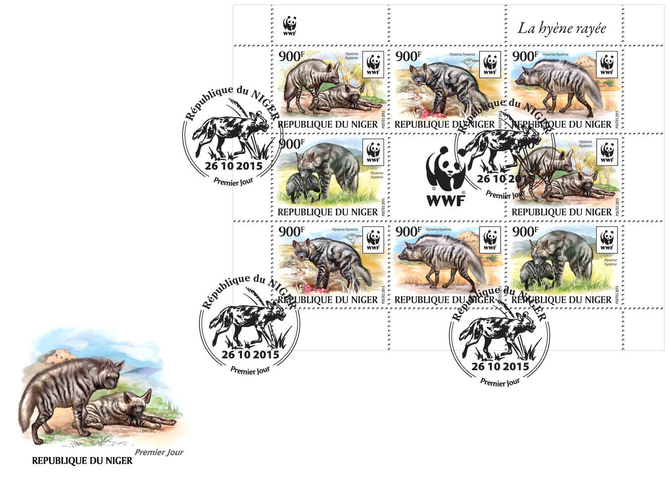 WWF – Hyena (FDC) - Issue of Niger postage stamps