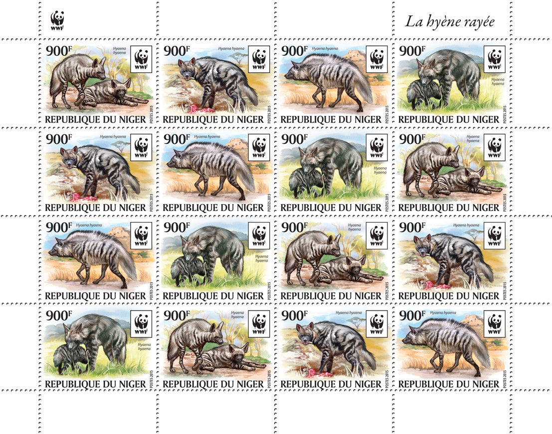 WWF – Hyena (4 sets) - Issue of Niger postage stamps
