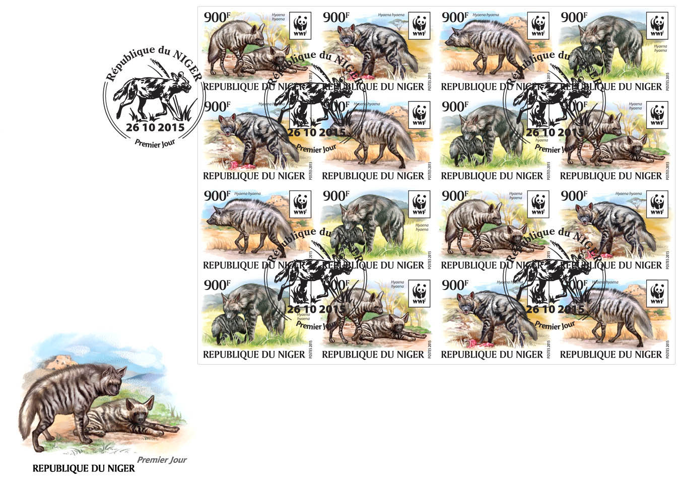 WWF – Hyena (FDC imperf.) - Issue of Niger postage stamps