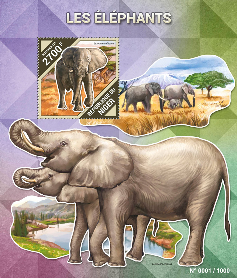 Elephants - Issue of Niger postage stamps