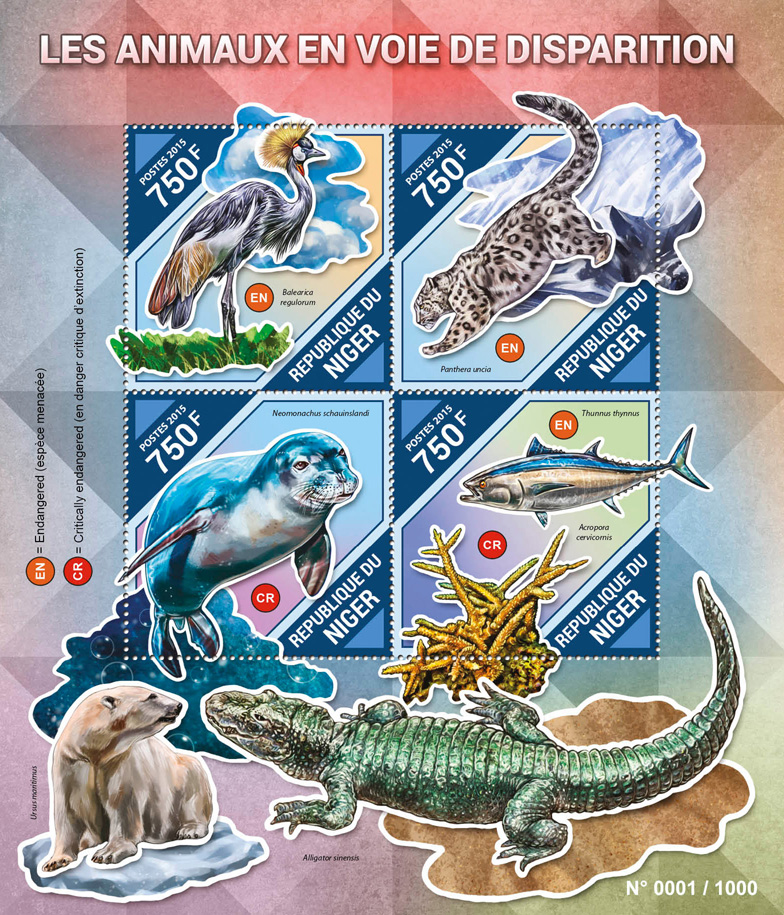 Endangered animals - Issue of Niger postage stamps