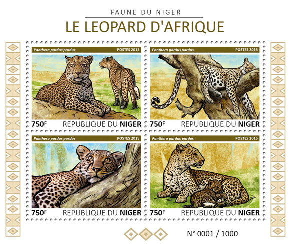 Leopard - Issue of Niger postage stamps