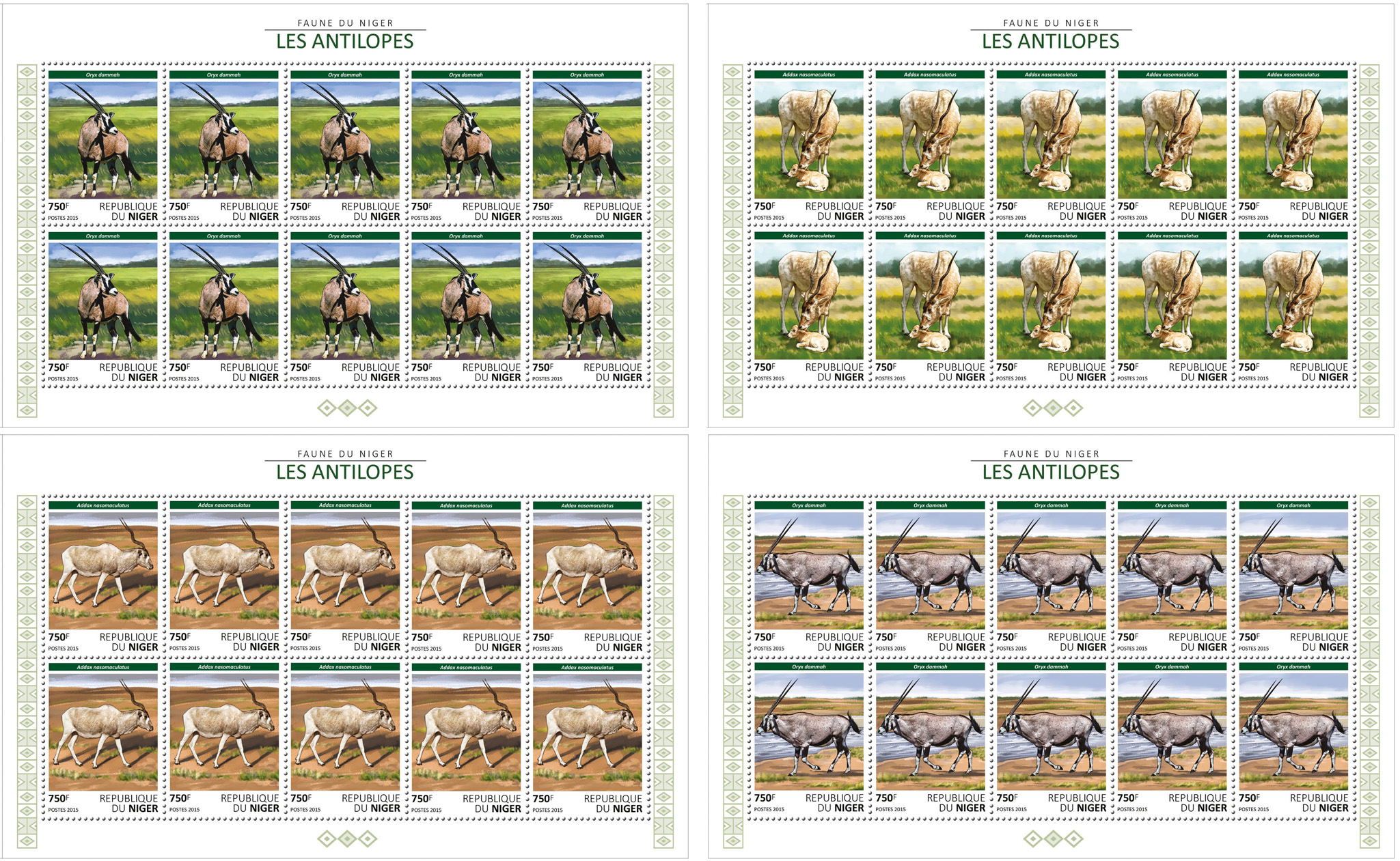 Antelopes 4x10v - Issue of Niger postage stamps