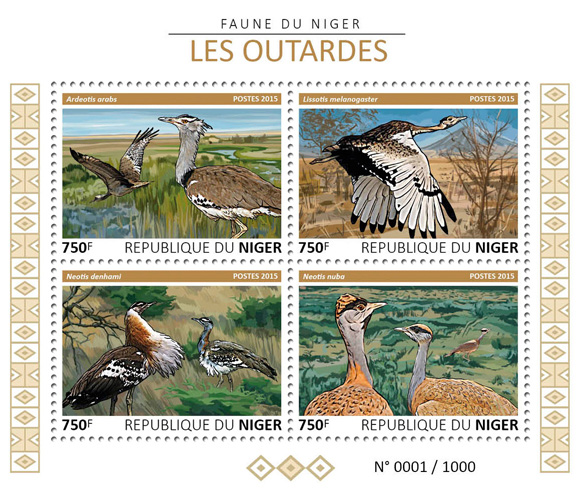 Bustards - Issue of Niger postage stamps