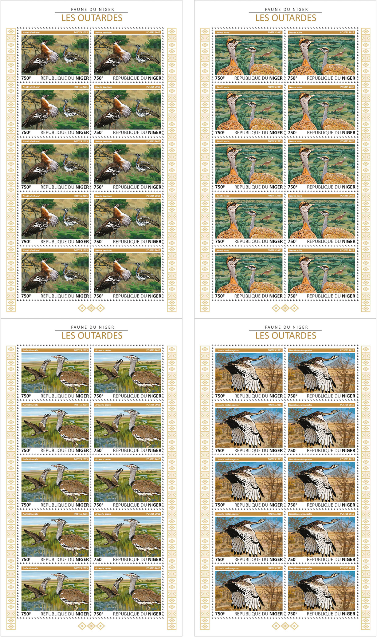 Bustards 4x10v - Issue of Niger postage stamps