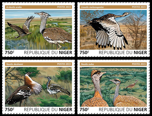 Bustards – set - Issue of Niger postage stamps