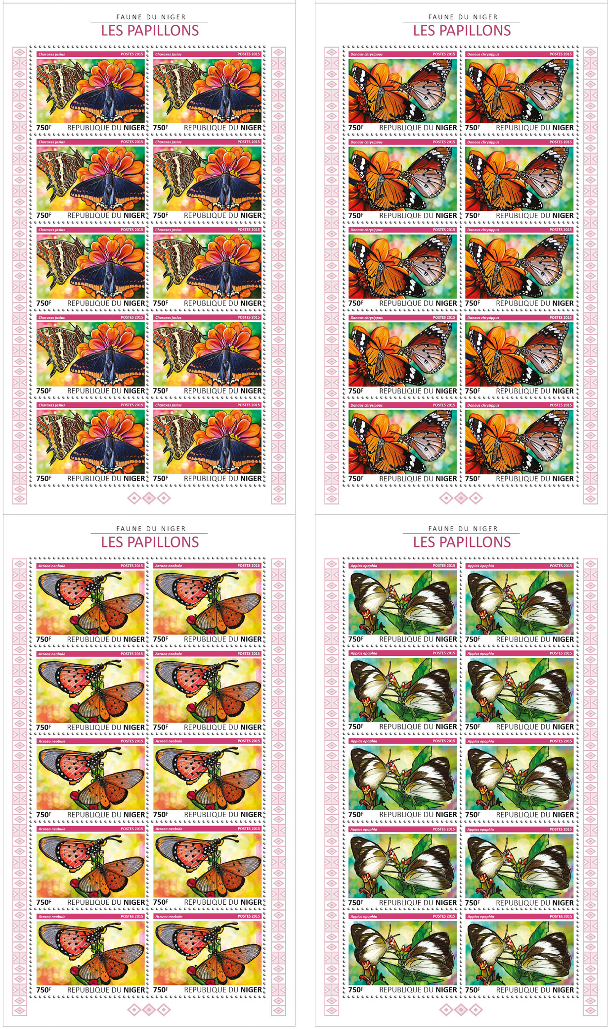 Butterflies 4x10v - Issue of Niger postage stamps