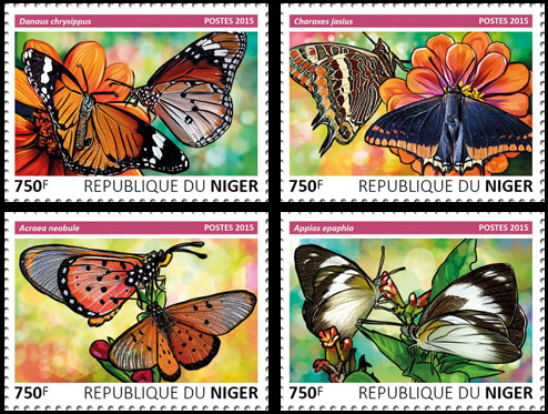 Butterflies – set - Issue of Niger postage stamps