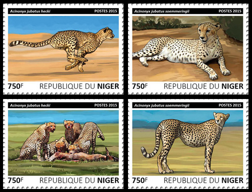 Cheetahs – set - Issue of Niger postage stamps