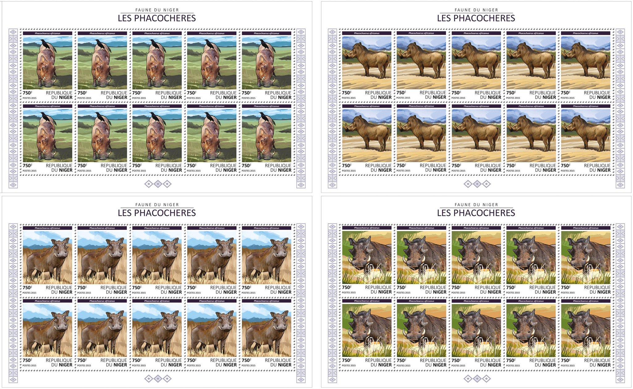 Warthogs - Issue of Niger postage stamps