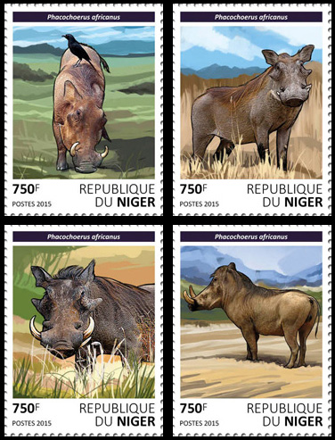 Warthogs – set - Issue of Niger postage stamps
