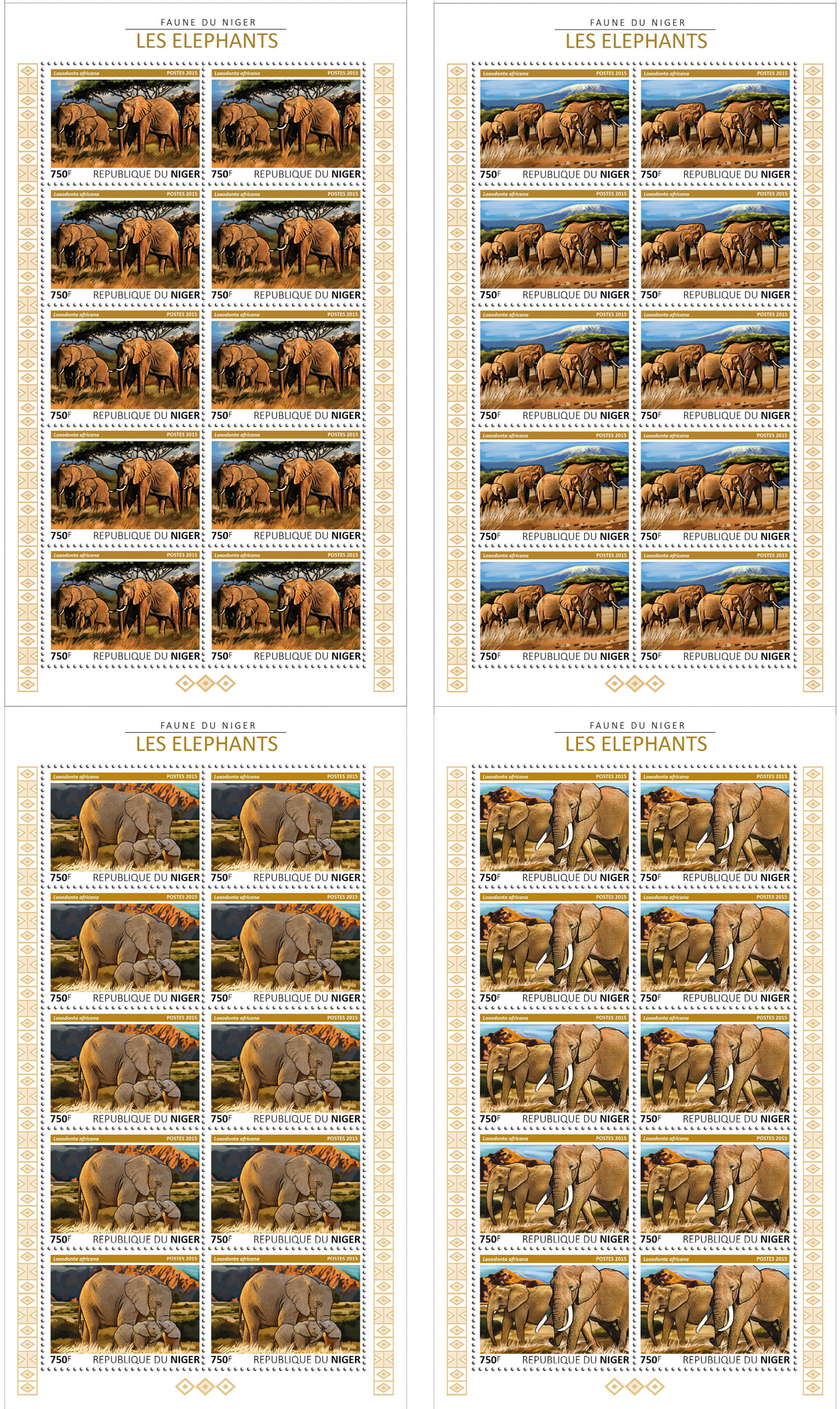 Elephants 4x10v - Issue of Niger postage stamps