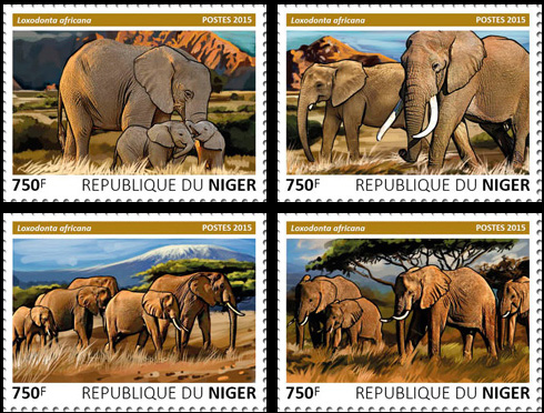 Elephants – set - Issue of Niger postage stamps