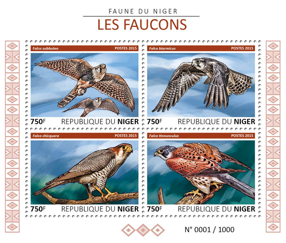 Hawks - Issue of Niger postage stamps