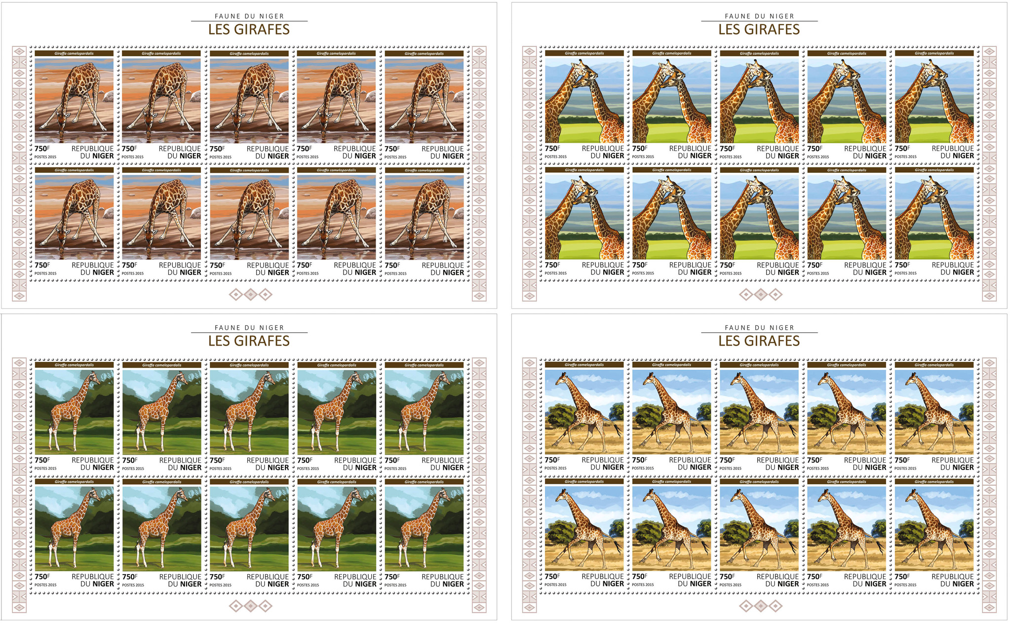 Giraffes 4x10v - Issue of Niger postage stamps