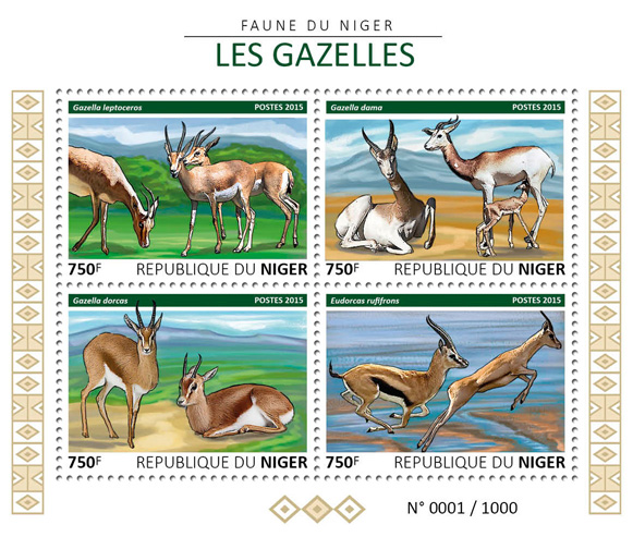 Gazelles - Issue of Niger postage stamps
