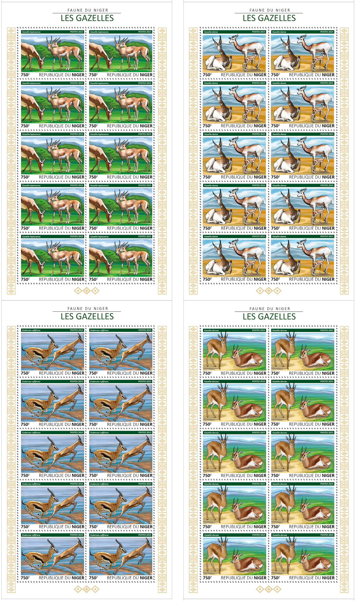 Gazelles 4x10v - Issue of Niger postage stamps