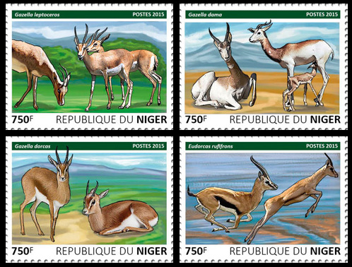 Gazelles – set - Issue of Niger postage stamps