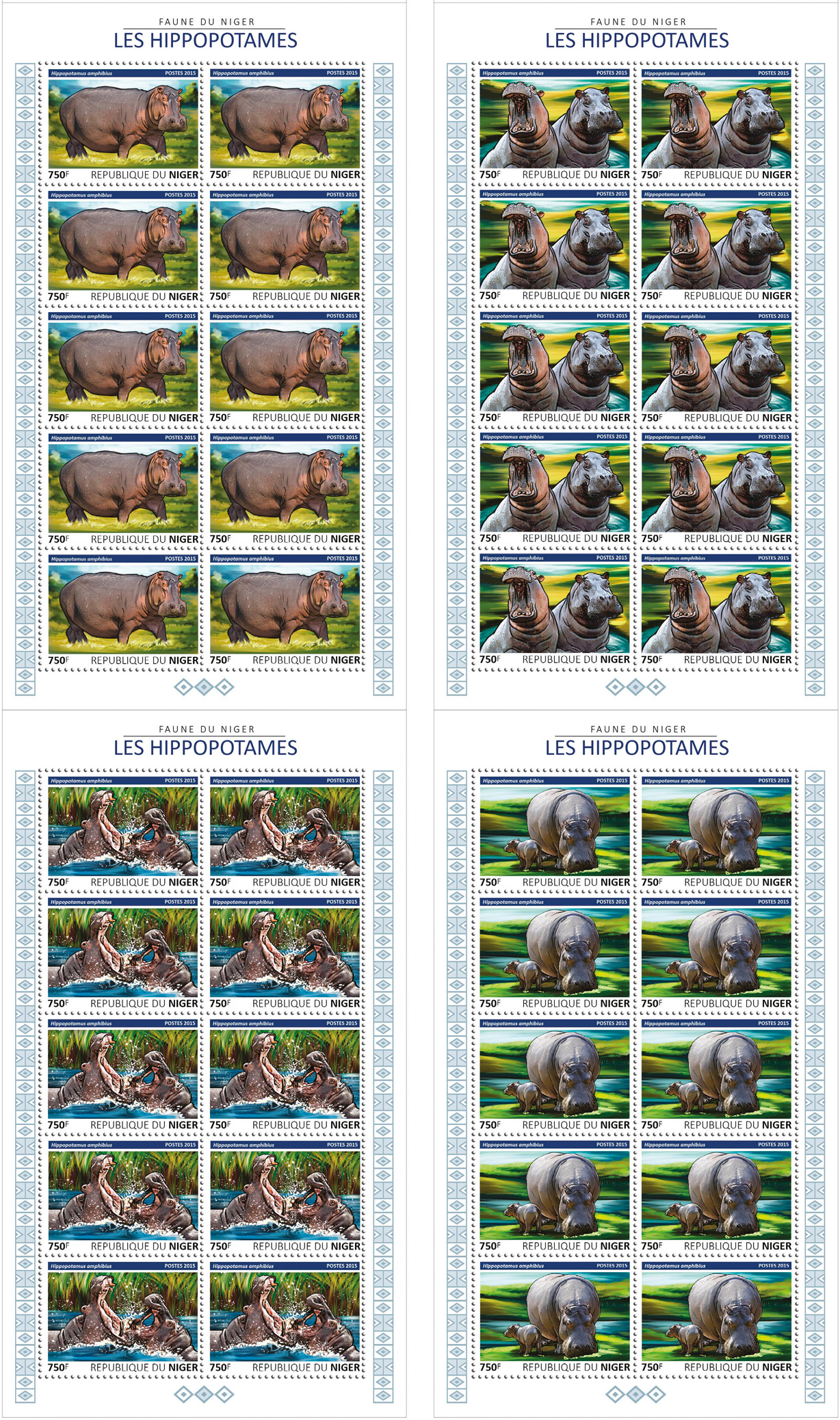 Hippos 4x10v - Issue of Niger postage stamps