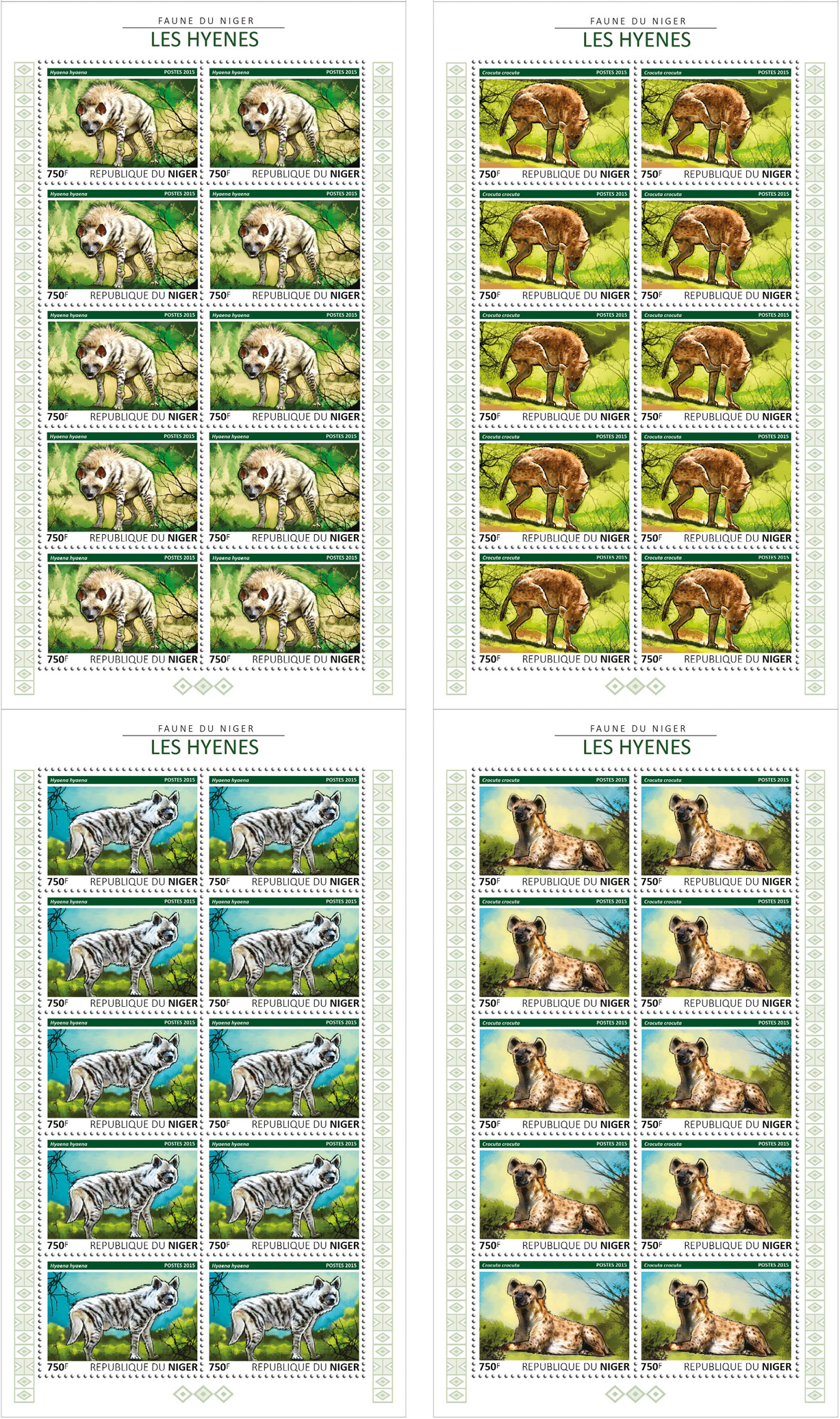 Hyenas 4x10v - Issue of Niger postage stamps