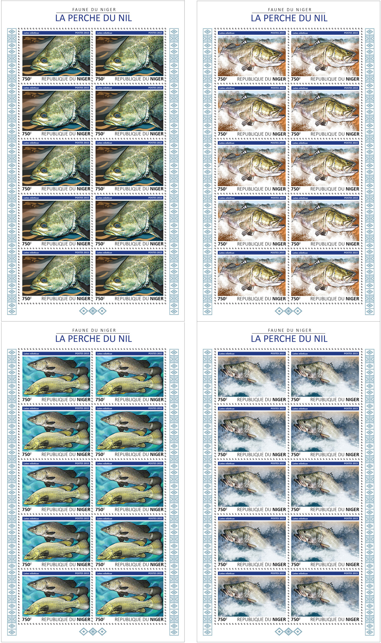 Fish 4x10v - Issue of Niger postage stamps