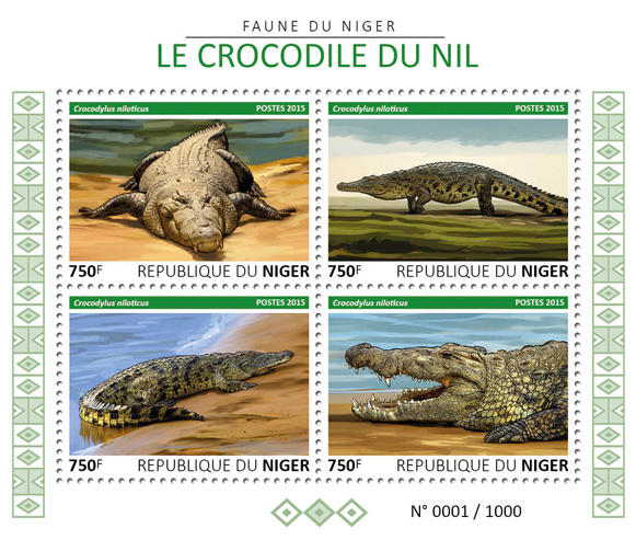 Crocodile - Issue of Niger postage stamps