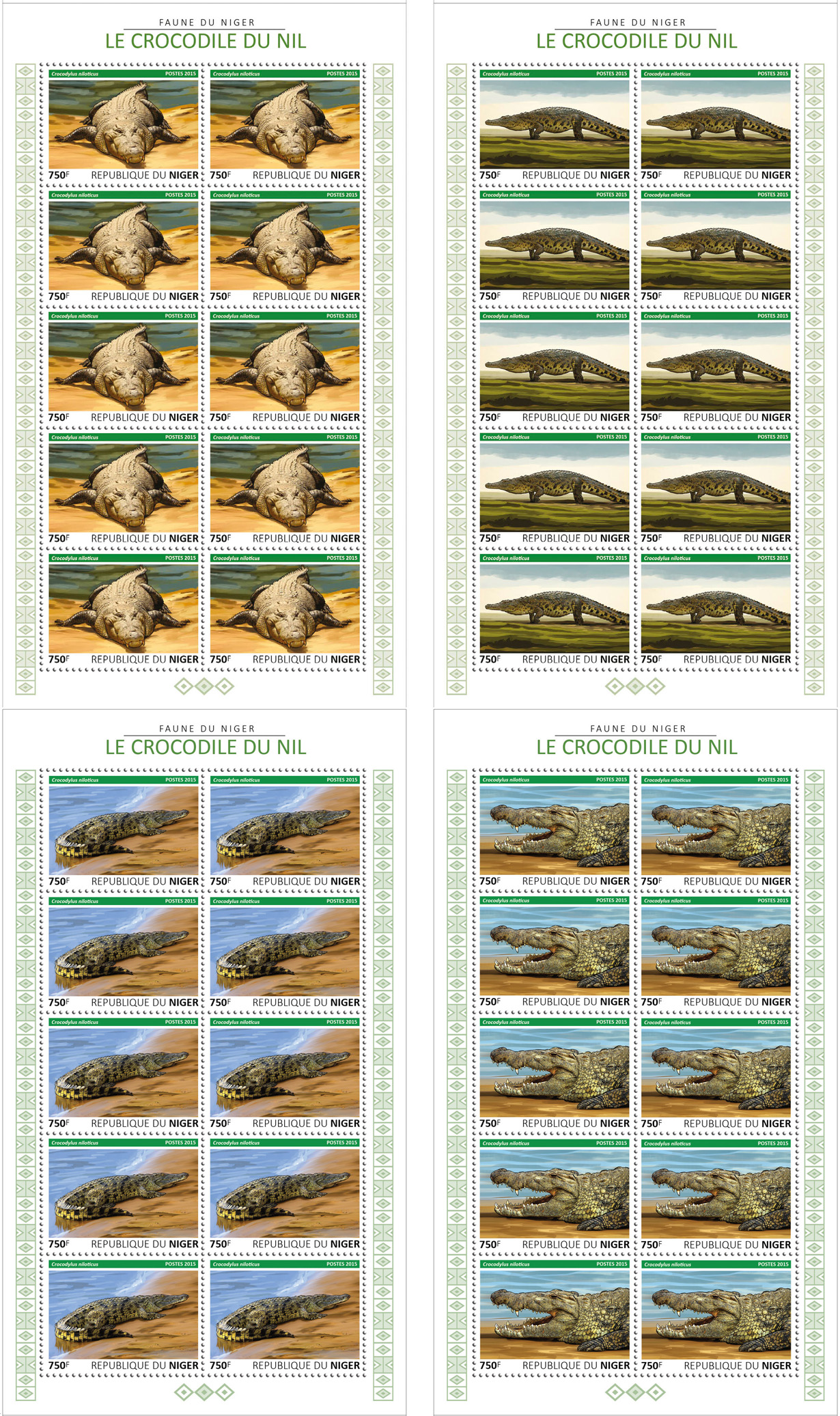 Crocodile 4x10v - Issue of Niger postage stamps